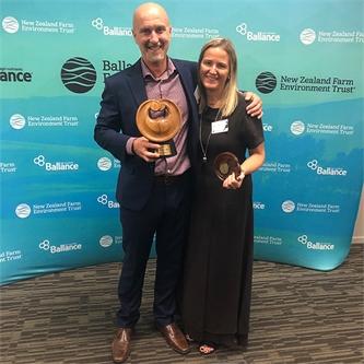 Tony Coltman and Dana Carver win Canterbury Supreme award at the Ballance Farm Environment Awards